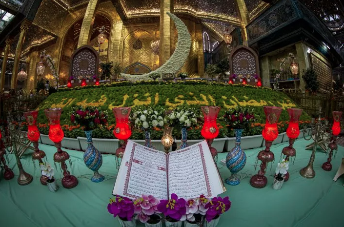 A floral carpet in the middle of the Shrine's courtyard of Aba al-Fadl al-Abbas (AS) during the month of Ramadhan.