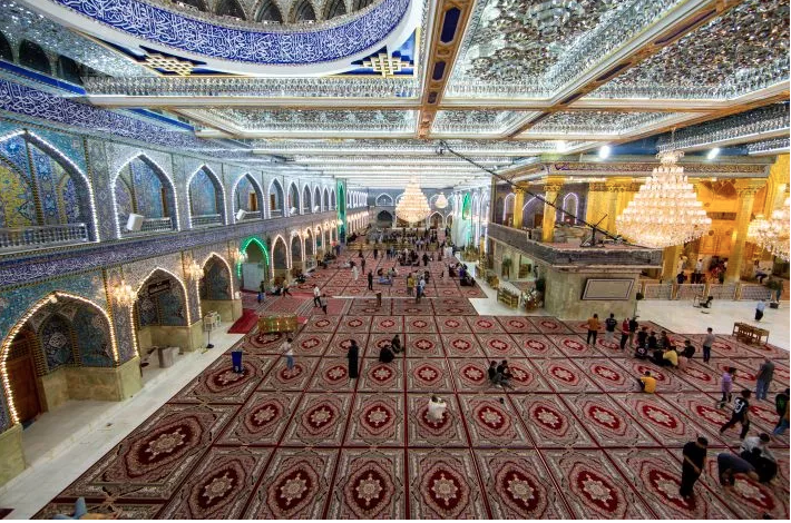 The courtyard of the al-Abbas's (AS) holy shrine is furnished with a new set of carpets.