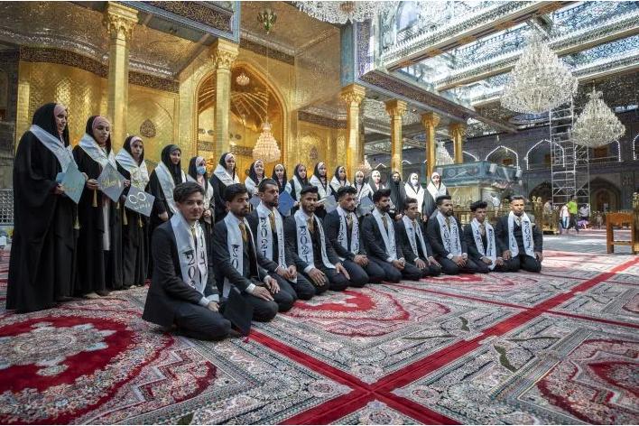 University students celebrate their graduation at the shrine of Aba al-Fadl al-Abbas (AS).